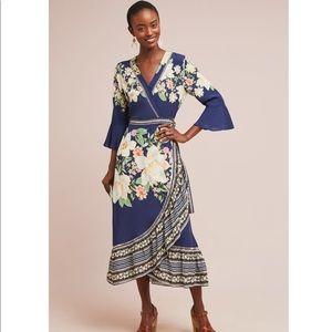 Anthropologie farm rio midnight flower wrap dress